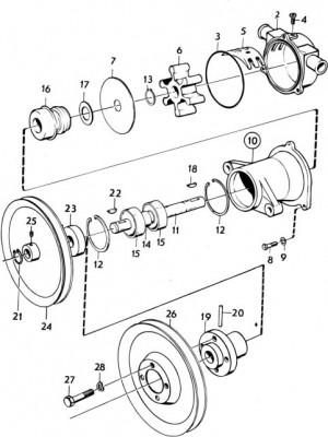 Packungsscheibe / Scheibe für Seewasserpumpe von Volvo Penta 835516